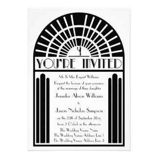 Wedding Invitations in Bold Art Deco Style
