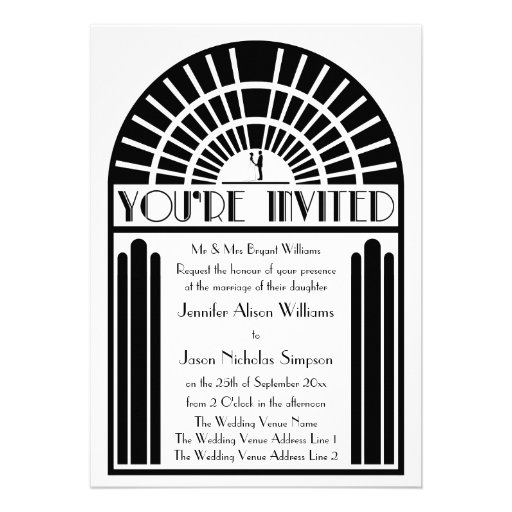 Wedding Invitations in Bold Art Deco Style