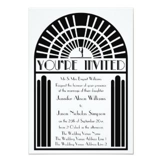 """Wedding Invitations in Bold Art Deco Style 5"""" X 7"""" Invitation Card"""