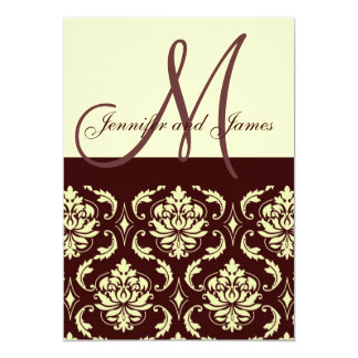 Wedding Invitations Monogram Brown Ivory Damask