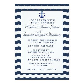 Wedding Invitations   Nautical Navy Waves Anchor