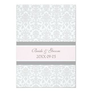 "Wedding Invitations Pink Gray White Damask 5"" X 7"" Invitation Card"