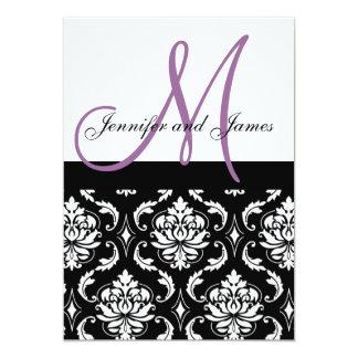 Wedding Invitations Purple Monogram Names Damask
