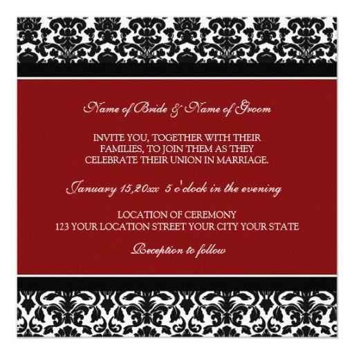Wedding Invitations Red Black White Damask 13 Cm X 13 Cm Square Invitation Card