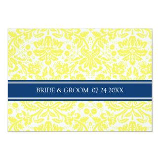 Wedding Invitations Yellow Blue Damask Pattern