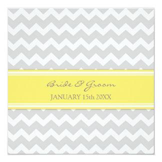 Wedding Invitations Yellow Grey Chevron