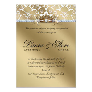 Wedding Invite Damask Floral Gold Crown