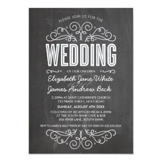 WEDDING INVITE elegant flourish chalkboard gray