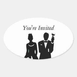Wedding Invite Envelope Seal Oval Sticker
