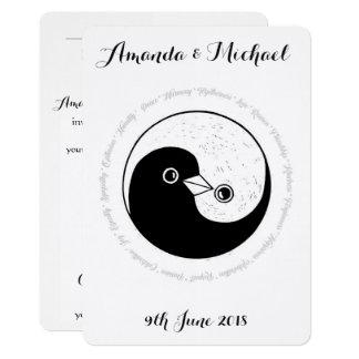 WEDDING INVITE white & black harmony YinYang doves