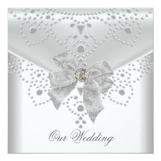 Wedding Invite White Silver Overlay Bow Jewel
