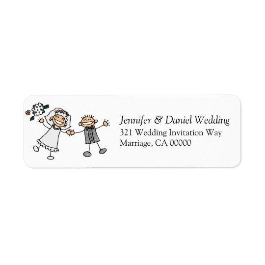 Wedding Invites Envelopes Simple Cute Bride Groom Return Address Label
