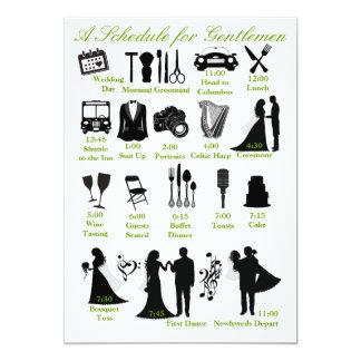 Wedding Itenerary Schedule for Groomsmen 13 Cm X 18 Cm Invitation Card