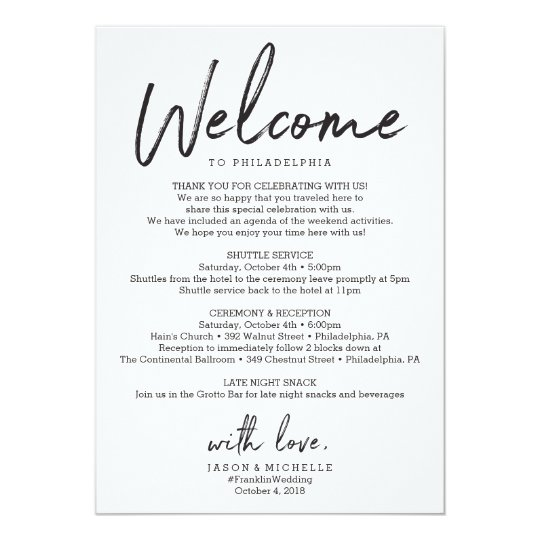 Wedding itinerary hotel welcome letter invitation zazzle wedding itinerary hotel welcome letter invitation stopboris Image collections