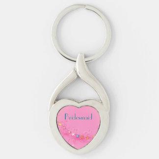 Wedding Keepsake Heart Keychain Silver-Colored Twisted Heart Key Ring