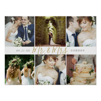 Wedding Keepsake Mr. and Mrs. 6 Photo Collage Poster