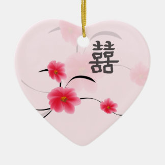 Wedding Keepsake Pink Blossom Double Happiness Ceramic Heart Decoration