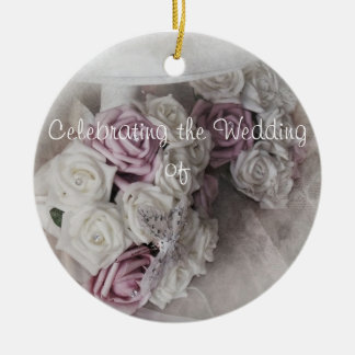 Wedding Keepsake Round Ceramic Decoration