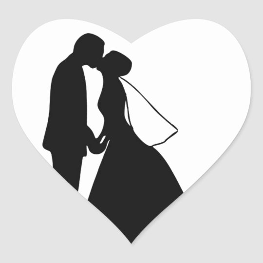 Wedding kiss bride and groom silhouette heart sticker