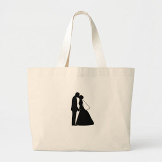 Wedding kiss bride and groom silhouette large tote bag