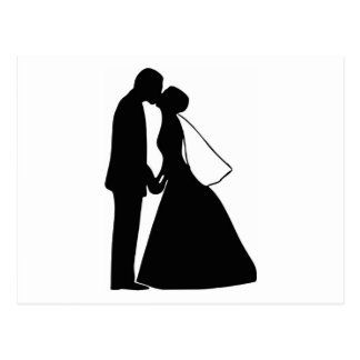 Wedding kiss bride and groom silhouette postcard