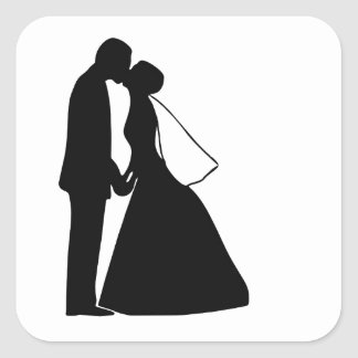 Wedding kiss bride and groom silhouette square sticker