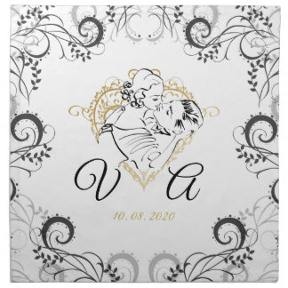 Wedding Kissing Couple Table Setting Napkin