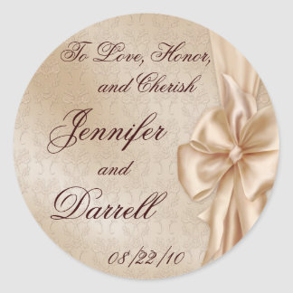 Wedding Lace and Bow Round Sticker