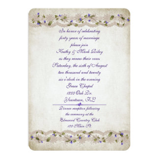 Wedding lace and ivy border 13 cm x 18 cm invitation card