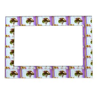 Wedding light purple  flower magnetic  frame
