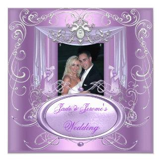 Wedding Lilac Purple Pink Silver Ornate Elegant 5.25x5.25 Square Paper Invitation Card