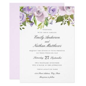 Wedding Lilac Purple Watercolor Floral Invitation
