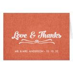 Wedding Love and Thanks Folded Card | Coral Linen