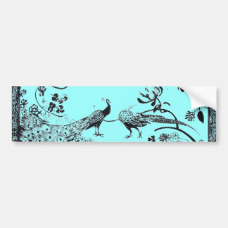 WEDDING LOVE BIRDS  black and blue Bumper Sticker