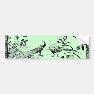 WEDDING LOVE BIRDS  black and green Bumper Sticker