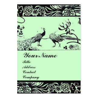 WEDDING LOVE BIRDS ,black and white ,green Business Cards