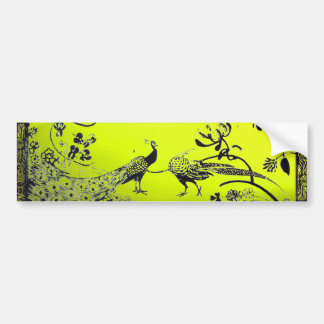 WEDDING LOVE BIRDS  black and white yellow Bumper Sticker