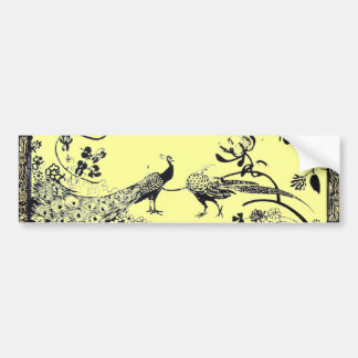 WEDDING LOVE BIRDS  black and yellow Bumper Sticker