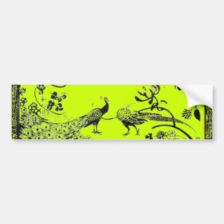 WEDDING LOVE BIRDS  black and yellow green Bumper Sticker