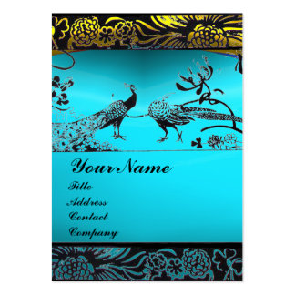 WEDDING LOVE BIRDS ,black white,blue aquamarine Business Card Template