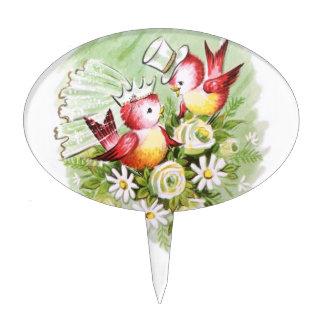 Wedding Love Birds Oval Cake Picks