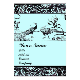WEDDING LOVE BIRDS MONOGRAM ,black and white blue Pack Of Chubby Business Cards