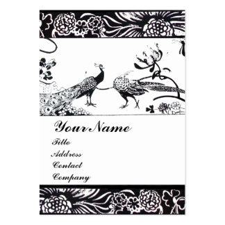 WEDDING LOVE BIRDS MONOGRAM ,black and white Business Cards
