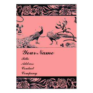 WEDDING LOVE BIRDS MONOGRAM ,black and white pink Pack Of Chubby Business Cards