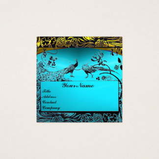 WEDDING LOVE BIRDS MONOGRAM Gold Turquoise Blue Square Business Card