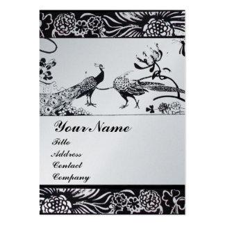 WEDDING LOVE BIRDS MONOGRAM  platinum metallic Business Card