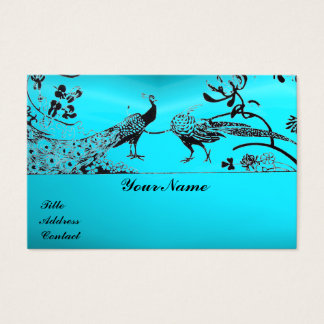 WEDDING LOVE BIRDS / PEACOCKS Black Blue Turquoise Business Card