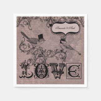 Wedding Love Birds Personalized Paper  Napkins Paper Serviettes