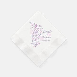 Wedding love birds purple pink paper napkins