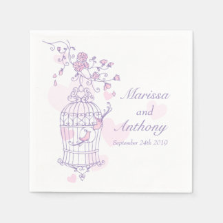 Wedding love birds purple pink paper napkins disposable napkin